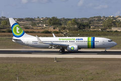 Dutch Airline Transavia 737. Luqa, Malta 15 September, 2008: Transavia Airlines Boeing 737-7K2 slowing down after landing runway 31 Stock Photography