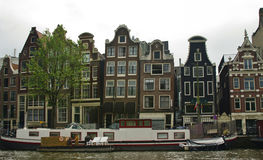 Dutch architecture. Ducht architecture along one of canals in amsterdam Royalty Free Stock Images
