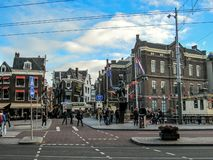 Dutch architecture on the street, famous vintage traditional Flemish buildings of Amsterdam city royalty free stock images