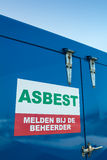 Dutch asbestos sign on a blue container Stock Photos