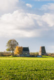 Dutch autumn landscape with a capless windmill Stock Photography