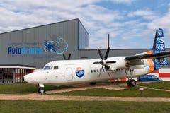 Dutch aviaton museum Aviodrome near Lelystad Airport with Fokker50 airplane Royalty Free Stock Photos