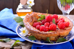 Dutch baby pancake with apple  cinnamon and fresh Stock Image