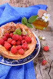Dutch baby pancake with apple cinnamon and fresh Royalty Free Stock Photo