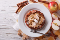 Dutch baby pancake with apple closeup.  horizontal top view Royalty Free Stock Photos