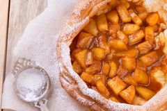 Dutch baby pancake with apple. Stock Image
