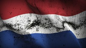Netherlands grunge dirty flag waving on wind. Dutch background fullscreen grease flag blowing on wind. Realistic filth fabric texture on windy day Stock Image