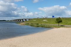 Dutch beach and concrete bridge between Emmeloord and Lelystad Stock Image