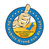 Dutch beer advertising sticker: leukste kroeg in de buurt. Dutch beer advertising sticker: Best pub in town. Here you can find coldest beer. Guaranteed! With us Stock Image