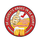Dutch beer advertising sticker: leukste kroeg in de buurt. Dutch beer advertising sticker: Best pub in town. Here you can find coldest beer. Guaranteed! With us Royalty Free Stock Photography