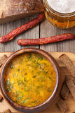 Dutch beer yellow soup with sausage croutons Stock Photo