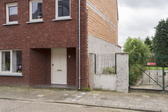 The Dutch Belgian border in Baarle Nassau. The border of Netherlands and Belgium in the city of Baarle Nassau. A result of treaties and wars, the Belgian enclave Stock Image