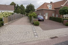 The Dutch Belgian border in Baarle Nassau. The border of Netherlands and Belgium in the city of Baarle Nassau. A result of treaties and wars, the Belgian enclave Royalty Free Stock Photo