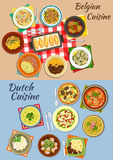 Dutch and belgian cuisine icon for food design. Dutch and belgian cuisine icon of potato with sausages and beef, pea and tomato soups, endive rolls, salmon and Stock Photography