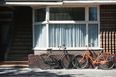Dutch bicycles parked in front of building Royalty Free Stock Images