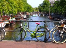 Dutch bike on a bridge royalty free stock images