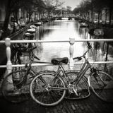 Dutch Bikes pulled out of canal Royalty Free Stock Photo