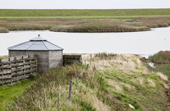 Dutch birdwatching cabin in Polder Breebaart Royalty Free Stock Image