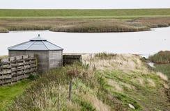 Dutch birdwatching cabin in Polder Breebaart Royalty Free Stock Image