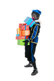 Dutch black pete with many presents Royalty Free Stock Photography