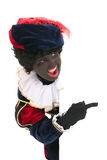 Dutch black pete with white board Royalty Free Stock Photos
