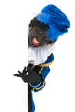 Dutch black pete with white board Stock Images