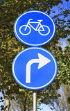 Dutch blue road sign with arrow turn right Stock Photo