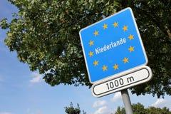 Dutch border. German traffic sign: Dutch border stock photos