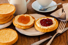Dutch breakfast. Typical breakfast from Holland with biscuit toast, butter and jam Stock Photos