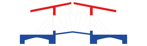 Dutch Bridge in Red White Blue Royalty Free Stock Image