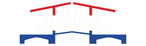 Dutch Bridge in Red White Blue Royalty Free Stock Image