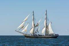 Dutch brig Morgenster. Morning Star in Dutch under sail during The Tall Ships´ Races 2017. Baltic sea, Europe royalty free stock photography