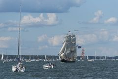 Dutch brig Morgenster sailing. Off Turku in Parade of sails during The Tall Ships´ Races 2017. Turku archipelago, Finland royalty free stock photos