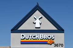 Dutch Bros. Coffee chain specializing in all different kinds of coffee. Location of the photo was taken in Gilbert Arizona Royalty Free Stock Photos