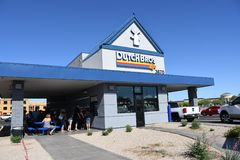 Dutch Bros. Coffee chain specializing in all different kinds of coffee. Location of the photo was taken in Gilbert Arizona Stock Photo