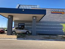 Dutch Bros. Coffee chain specializing in all different kinds of coffee. Location of the photo was taken in Gilbert Arizona Royalty Free Stock Photography