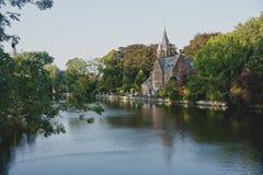 Dutch Bruges canals, Belgium Stock Image