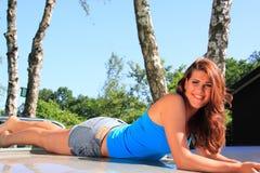 Dutch brunette girl relaxing royalty free stock photos