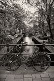 Dutch bycicle on a brigde Stock Image