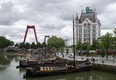 Dutch canal boats building bridge Stock Photo