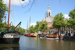 Dutch Canal and Church Royalty Free Stock Image