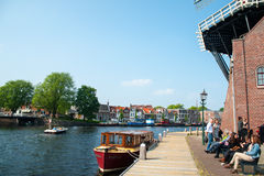 Dutch canal Haarlem Royalty Free Stock Images