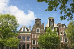 Dutch canal houses Royalty Free Stock Photos