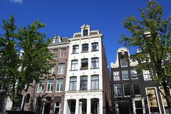 Dutch canal houses in Amsterdam Stock Image
