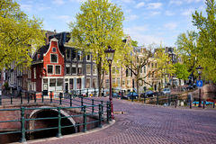 Dutch Canal Houses in Amsterdam Royalty Free Stock Photo