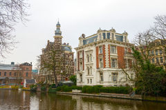 Dutch canals and typical canalside houses Royalty Free Stock Image