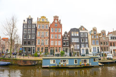 Dutch canals and typical canalside houses Royalty Free Stock Images