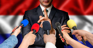 Dutch candidate speaks to reporters - journalism concept Royalty Free Stock Photography
