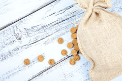 Dutch candy pepernoot with jute bag Royalty Free Stock Photos