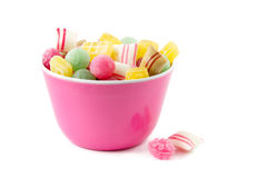 Dutch candy in a pink bowl Royalty Free Stock Images